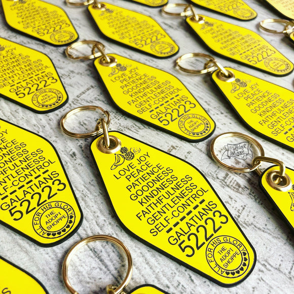 fruit of the Spirit yellow retro motel key tag fob