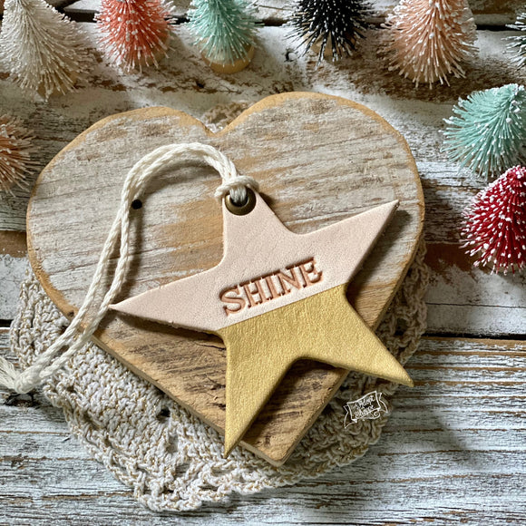 leather ornament star SHINE (metallic gold)