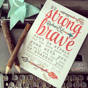 "strong & brave (coral) 5""x7"" print"