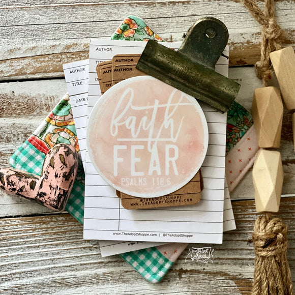 faith over fear BLUSH vinyl sticker