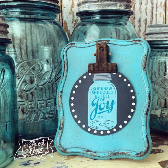full of joy mason jar #TheAdoptShoppecard (round)