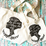 mini me WHOSE she was fair trade tote bag