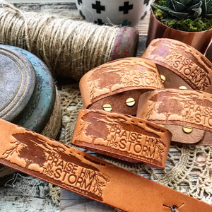 i will praise Him in this storm (camel/natural) leather cuff