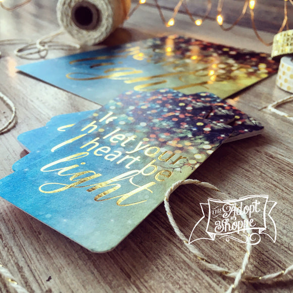 let your heart be light CHRISTMAS gold foil #TheAdoptShoppecard