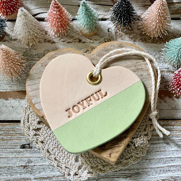 leather ornament heart JOYFUL (matte light green)