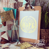 "hope & a future Jeremiah 29:11 gold foil 5""x7"" print"