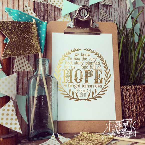 hope & a future Jeremiah 29:11 gold foil 5