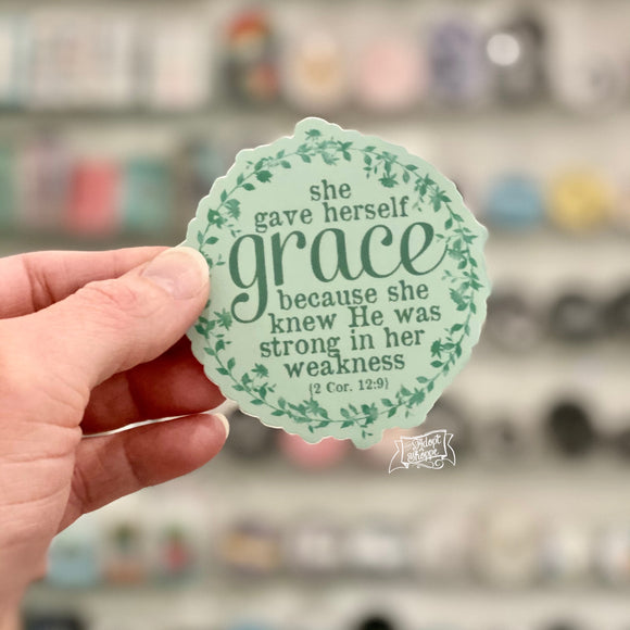 she gave herself grace (2 Corinthians 12:9) mint green vinyl sticker