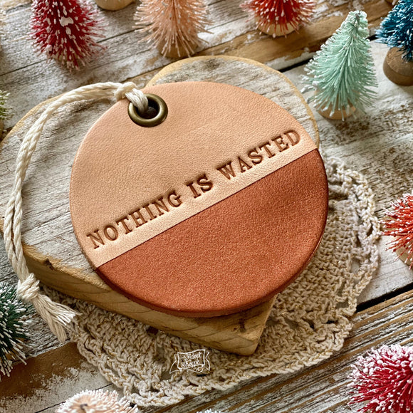 leather ornament NOTHING IS WASTED (metallic copper)