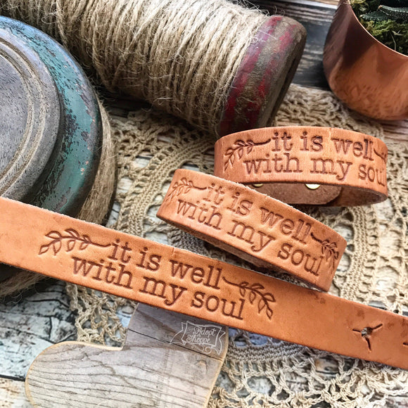 it is well with my soul (camel/natural) leather cuff
