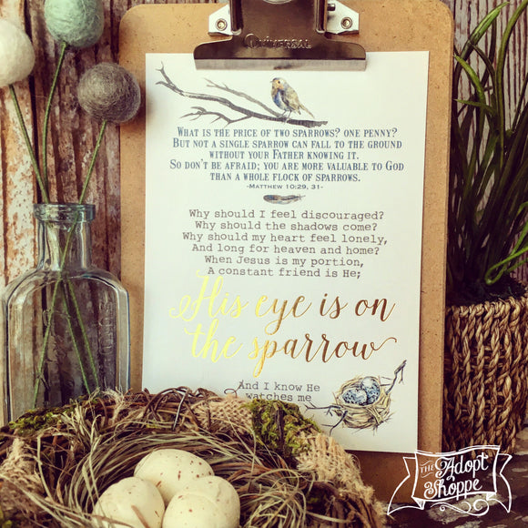 His eye is on the sparrow hymn encouragement gold foil 5