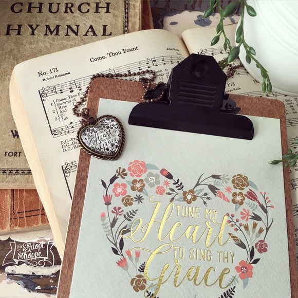tune my heart to sing Thy grace hymn gold foil 5