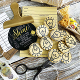SHE SHINES BRIGHT lightbulb yellow flair button pin / magnet / flat back