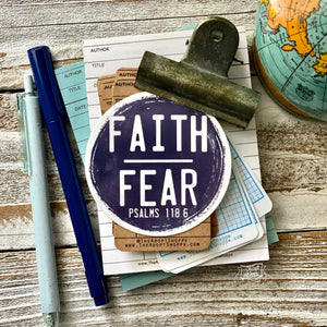 faith over fear NAVY vinyl sticker