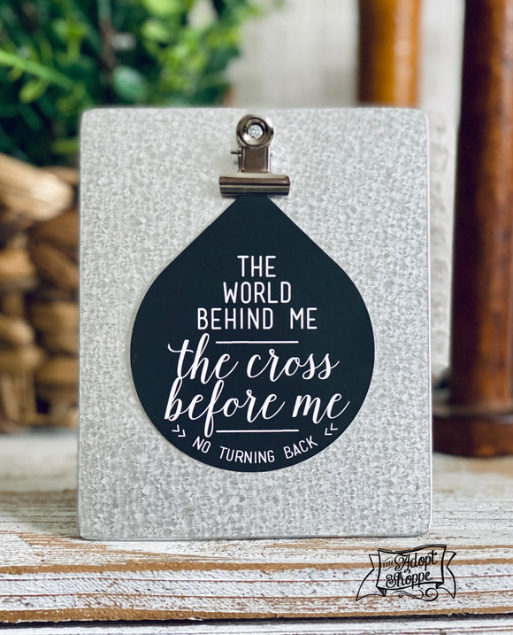 NO TURNING BACK - the world behind me - the cross before me teardrop #TheAdoptShoppecard