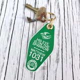 His eye is on the sparrow green retro motel key tag fob