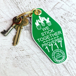 we stick together green white cactus succulent retro motel key tag fob