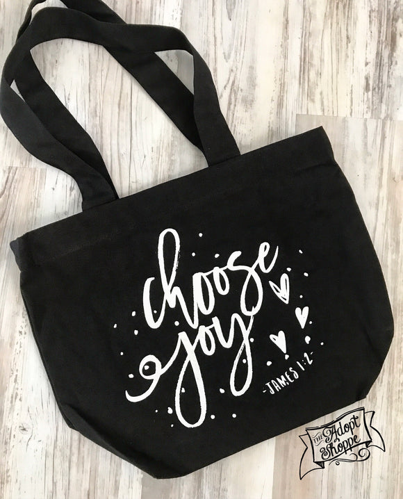 choose joy black fair trade tote bag