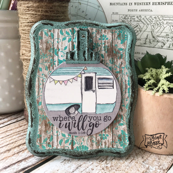 where you go I'll go vintage camper #TheAdoptShoppecard (aqua)