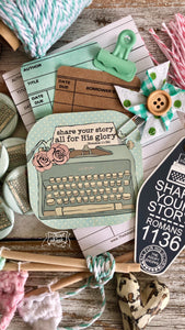 share your story - all for His glory typewriter #TheAdoptShoppecard