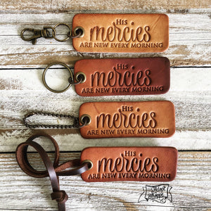 His mercies are new every morning (camel/natural) leather tag