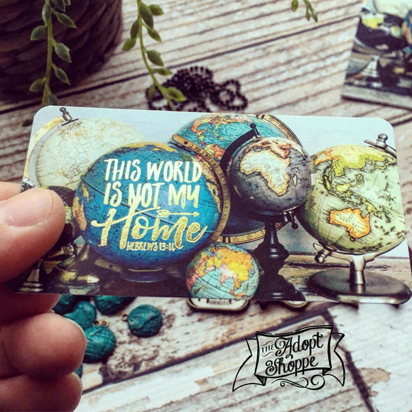this world is not my home globe gold foil #TheAdoptShoppecard