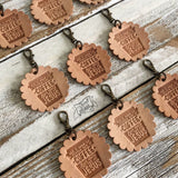 all i need is a little bit of coffee and a whole lot of Jesus leather charm tag