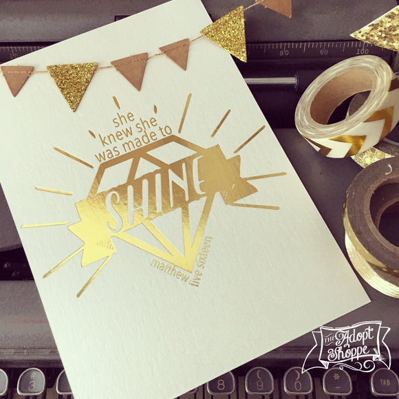 diamond made to SHINE gold foil 5