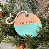 leather ornament GOD WITH US (metallic turquoise)