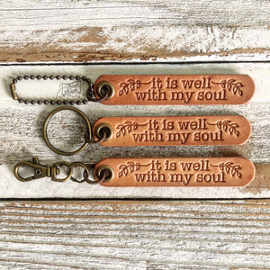 it is well with my soul (camel/natural) leather tag