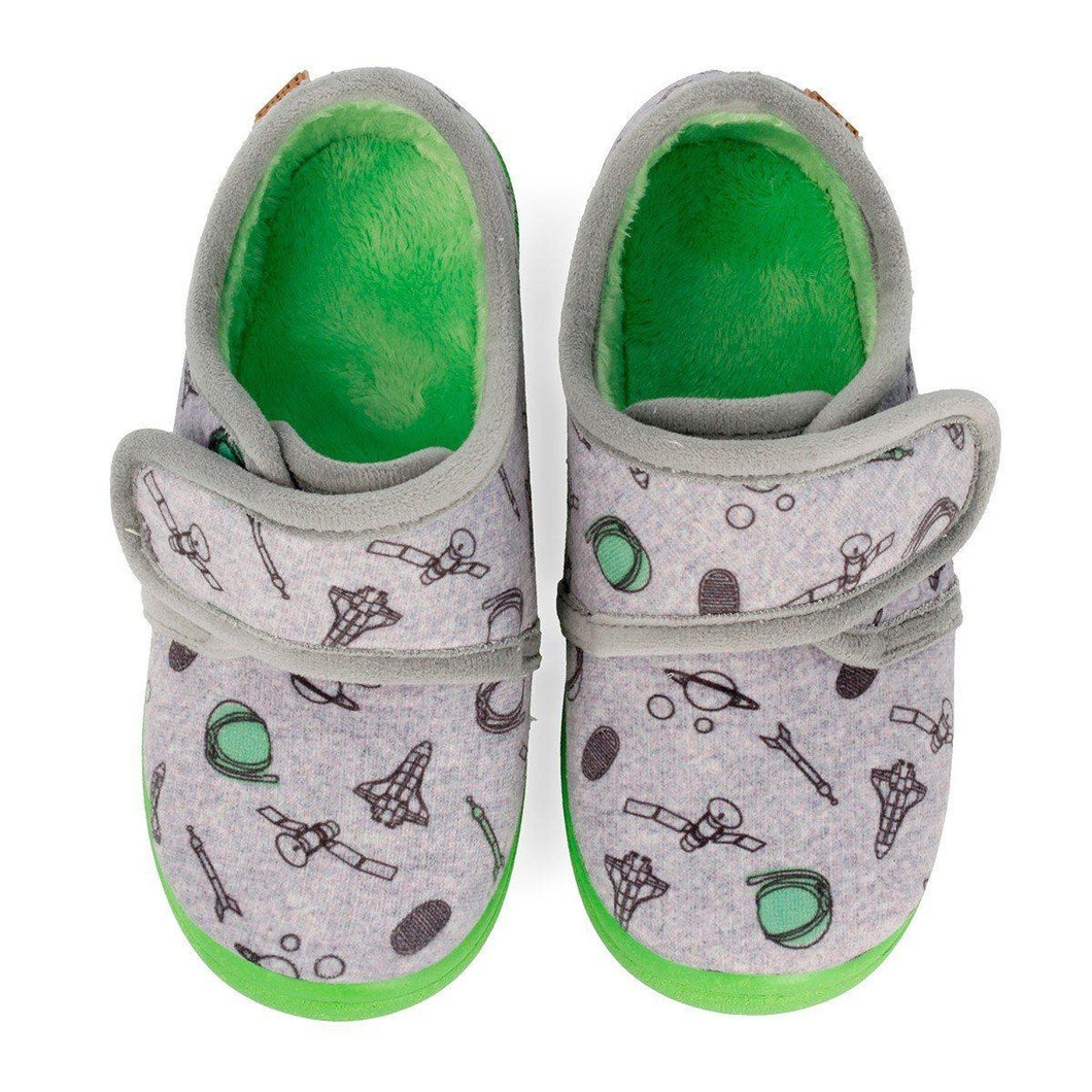 Gioseppo GREY SLIPPERS WITH GREEN SOLE FOR BOYS - TheShoeZoo