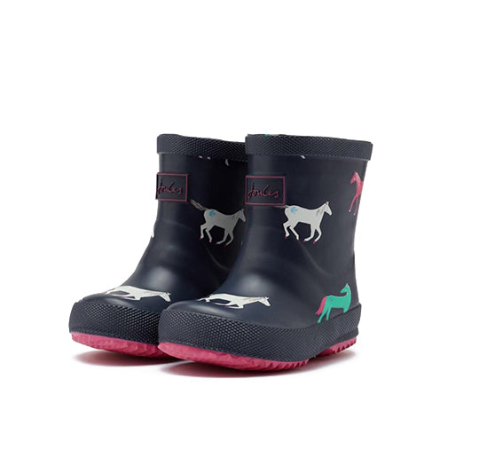 Joules Navy Horses Baby Wellies