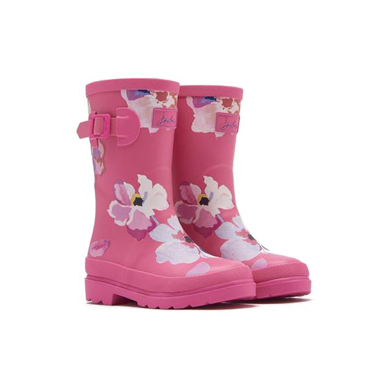 Joules Pink Flower Welly