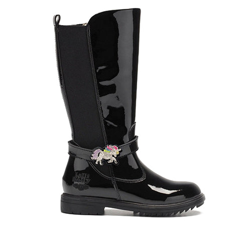 Lelli Kelly Marylin Black Patent Unicorn Boots