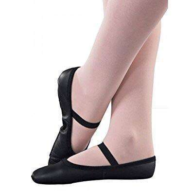 1st Position Black Leather Full Sole Ballet Shoes