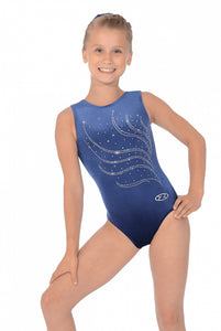 The Zone Tiara Navy Sleeveless Gymnastics Leotard
