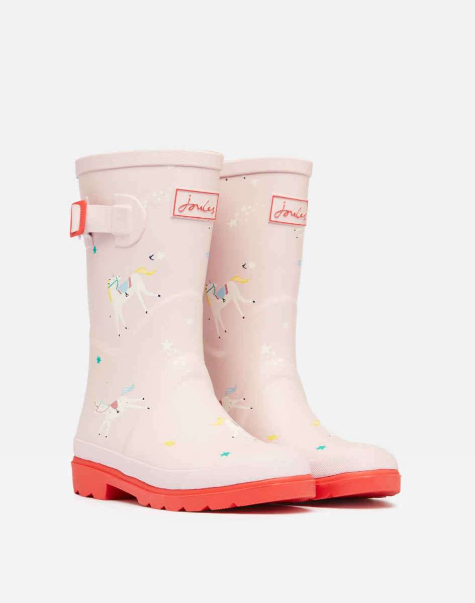 Joules Pink Unicorn Wellies
