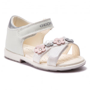 Geox B Verred White Leather Sandal