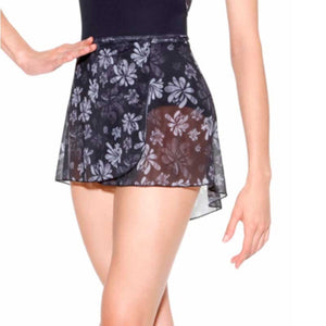 So Danca Black Floral Wrap Skirt