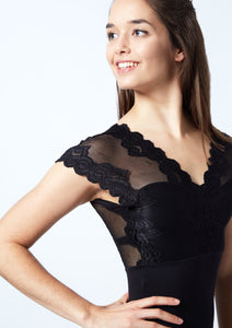 So Danca Floral Lace Cap Sleeve Low Back Leotard