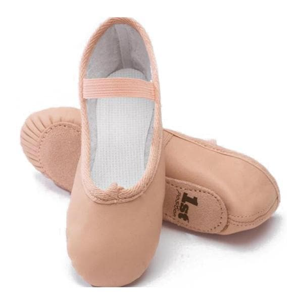 1st Position Pink Leather Full Sole Ballet Shoes - TheShoeZoo