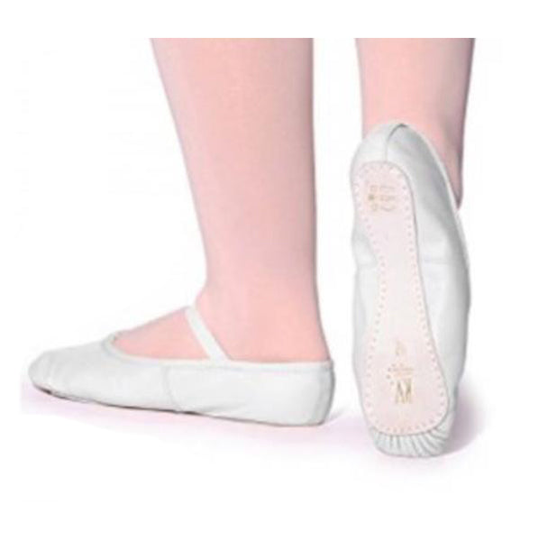 Roch Valley White Leather Full Sole Ballet Shoes