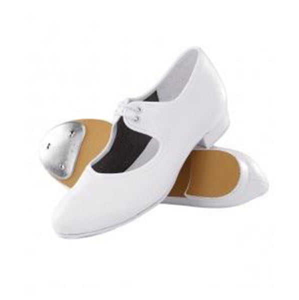1st Position White Low Heel Tap Shoes - TheShoeZoo