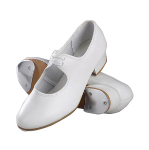 1st Position White Low Heel Tap Shoe - TheShoeZoo
