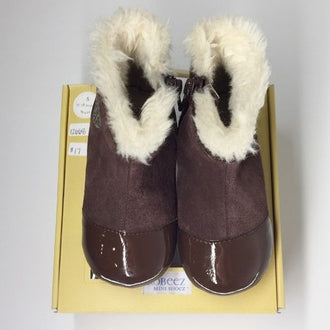 Robeez Patent and Suede Fur Lined Boots with Heart Graphic 12M-18M