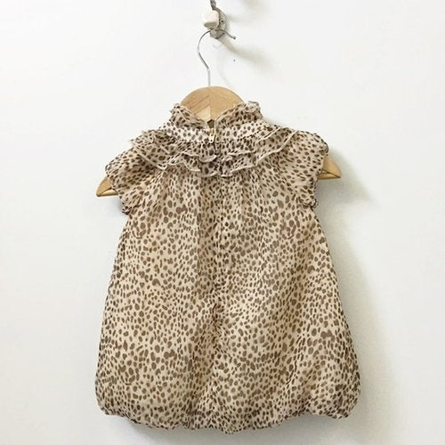 First Impressions Cap Sleeve Leopard Print Bubble Dress 6M-9M