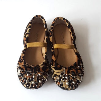 Nordstrom Leopard Faux Suede Studded Flats 7.5
