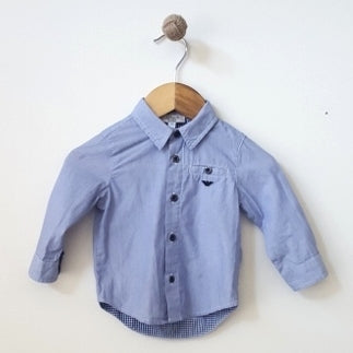 Armani Baby Striped Long Sleeve Shirt 6M