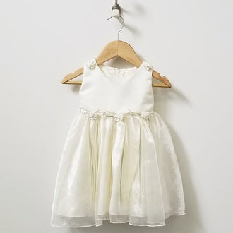 Kid's Dream Sleeveless Layered Dress With Flowers & Bows 6M - 9M
