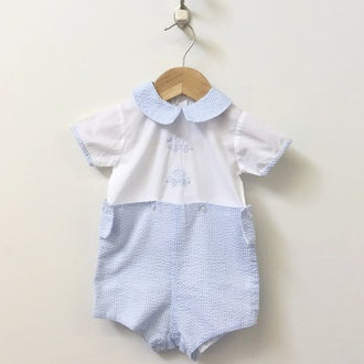 Auraluz Short Sleeve Seersucker Onesie With Detachable Pants 12M